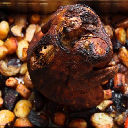 Kurczak can-can – pieczony na puszce, z warzywami korzeniowymi