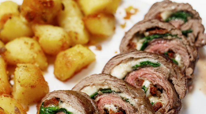 Wyrolowany stek bavette- włoska rolada z łaty wołowej