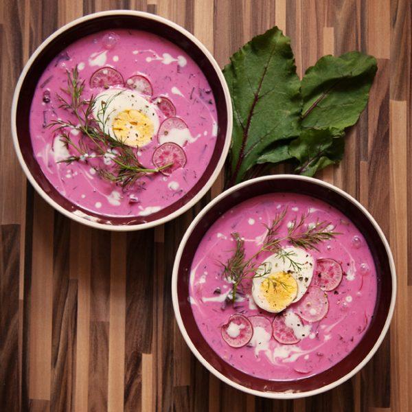 Chłodnik – różowa zupa z botwinki, na zimno